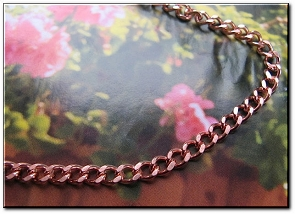 22 Inch Length Solid Copper Chain CN622G -  3/16 of an inch wide
