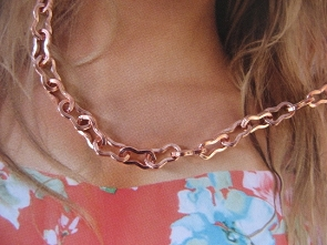 20 Inch Length Solid Copper Chain CN830G -  3/16 of an inch wide.