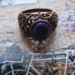 Copper Lapis  Ring CR2710 - Size 9 - 1/2 inch wide.