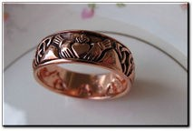 Copper Celtic Claddagh Band Size 9 Ring #CTR3355 - 5/16 of an inch wide.