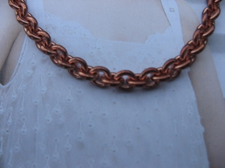 20 Inch Length Solid Copper Chain CN733G -  3/16 of an inch wide