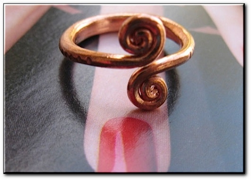 Copper Ring CR26HH- Size 5  - 1/2 an inch long.